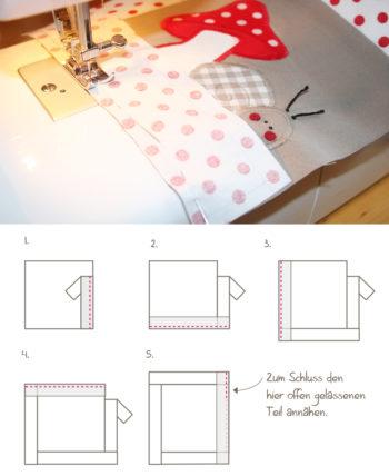 Knistertuch mit Schneckenapplikation: Schritt 3