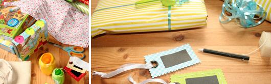 Geschenkanhänger aus Stoff und Tafelfolie selber machen