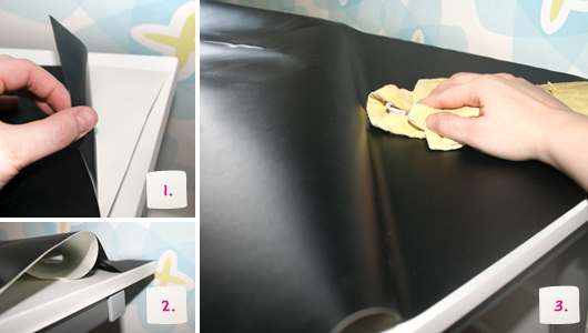 Kinderschreibtisch mit Tafelfolie bekleben – Schritt 1-3