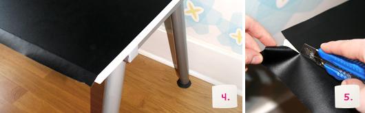 Kinderschreibtisch mit Tafelfolie bekleben – Schritt 4-5