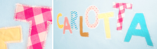 Babydecke mit Eulen-Applikation - Buchstaben applizieren