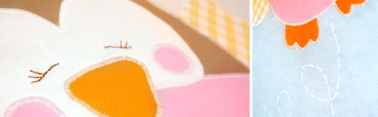 Babydecke mit Eulen-Applikation - Details Eule