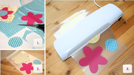 Blumen aus laminiertem Stoff – Schritt 1-3