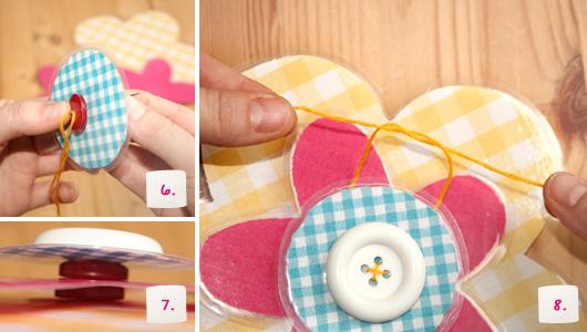 Blumen aus laminiertem Stoff – Schritt 6-8