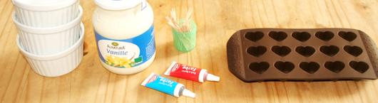 Rezept gefrorene Joghurt-Herzen am Spieß - Zutaten und Hilfsmittel