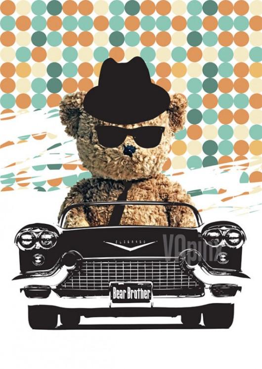 Nursery art print-Teddy Bear in the car as a Blues Brother