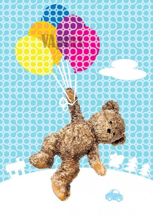 Nursery art print, Teddy Bear flying with balloons