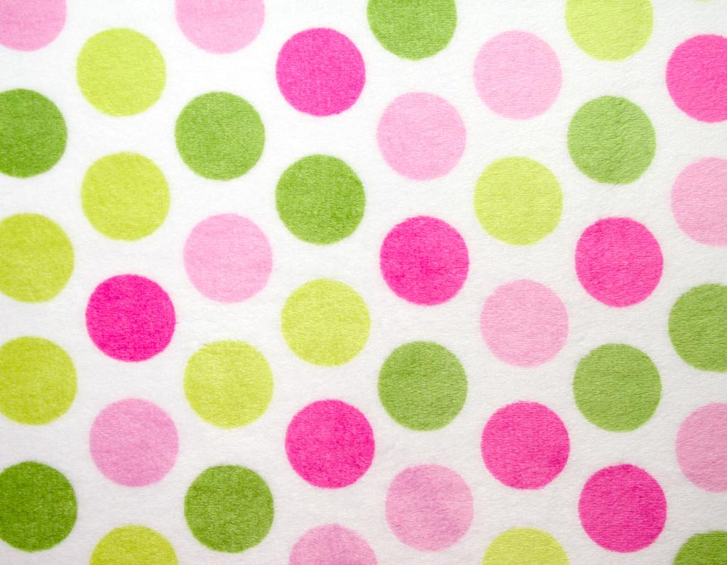 Plüsch Meterware große Punkte pink und grün auf weiß