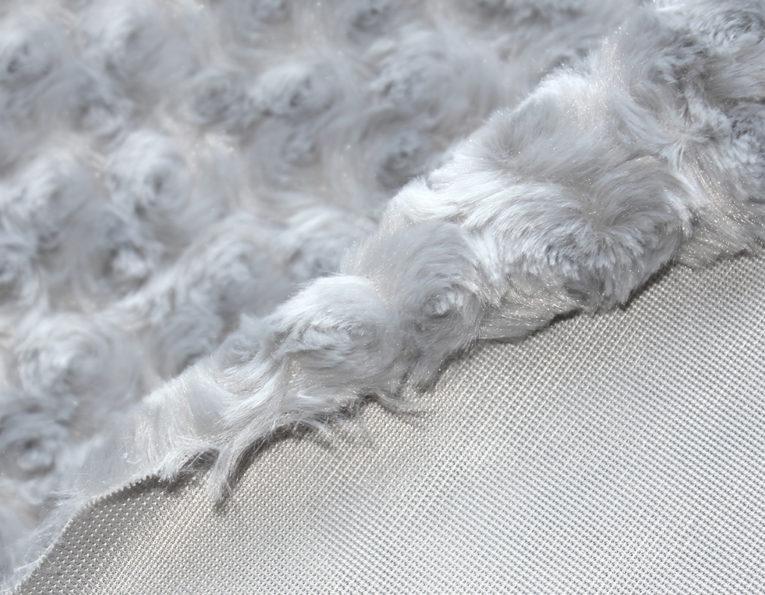Microfaserplüsch Rosenstruktur Minky Polyester grau silber