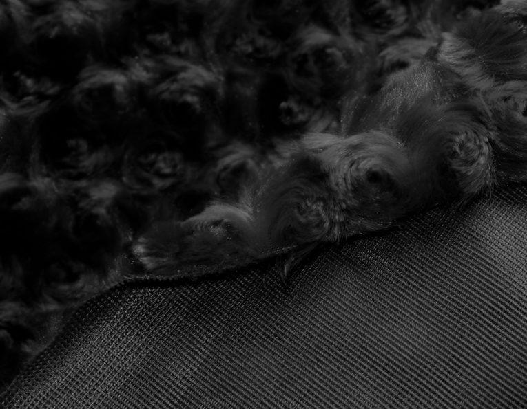 Microfaserplüsch Rosenstruktur Minky Polyester schwarz