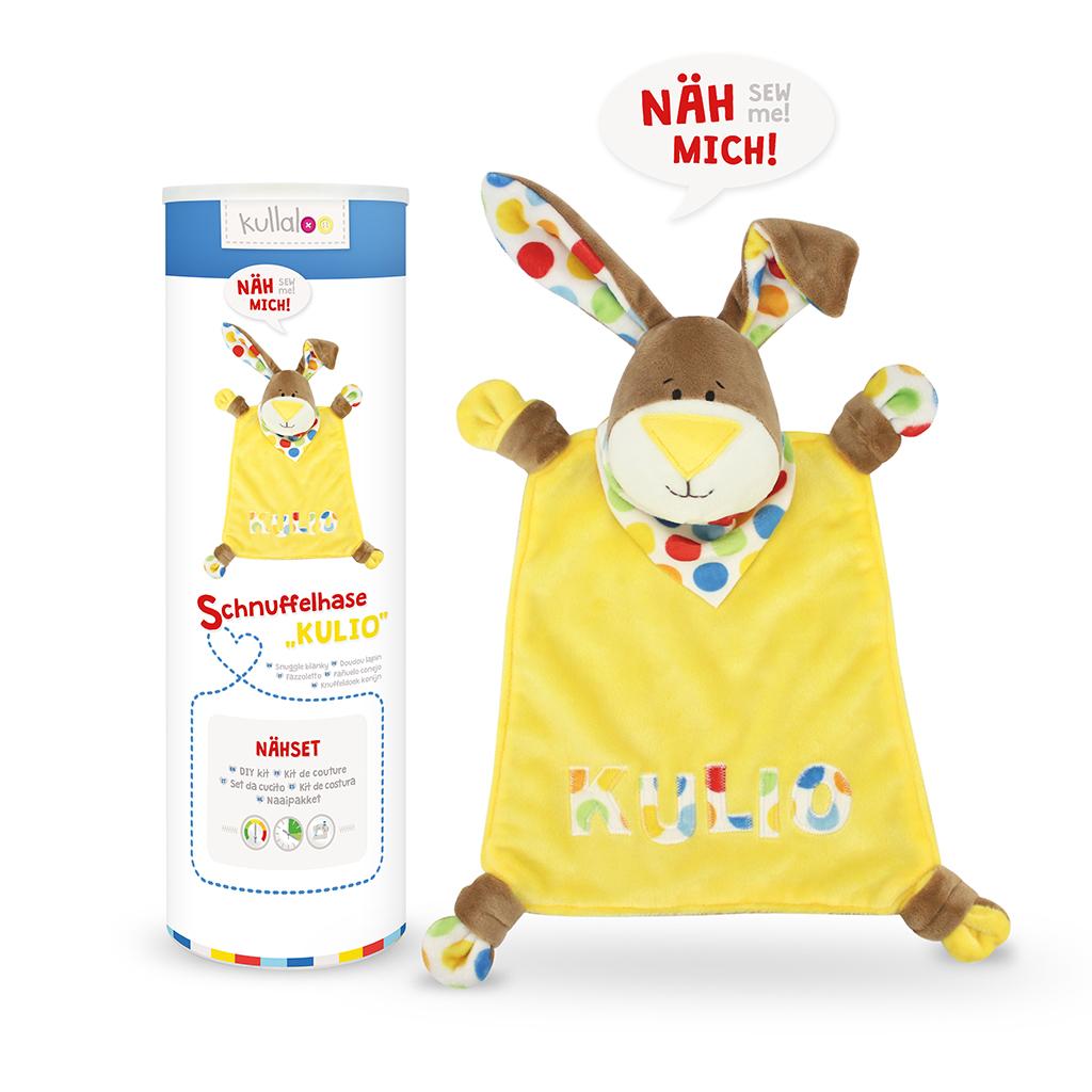 "Nähset Schnuffeltuch Hase ""KULIO"" gelb / hula dots"
