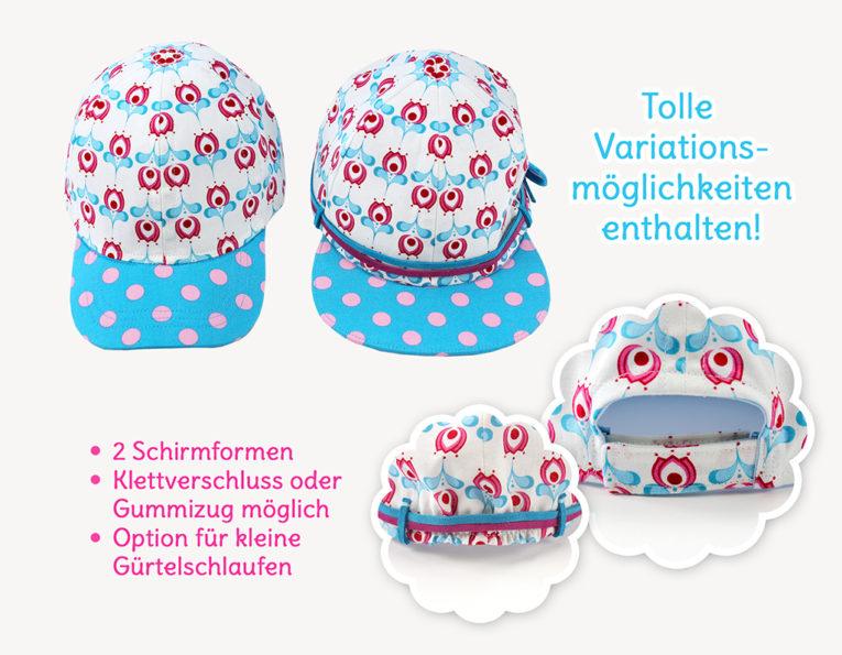 """Schnittmuster Baseball Cap """"Happy"""" Schnittmustervarianten"""