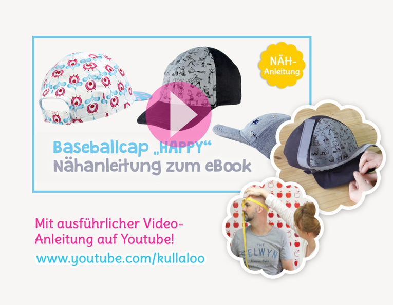 "Schnittmuster Basecap ""Happy"" Video-Nähanleitung"
