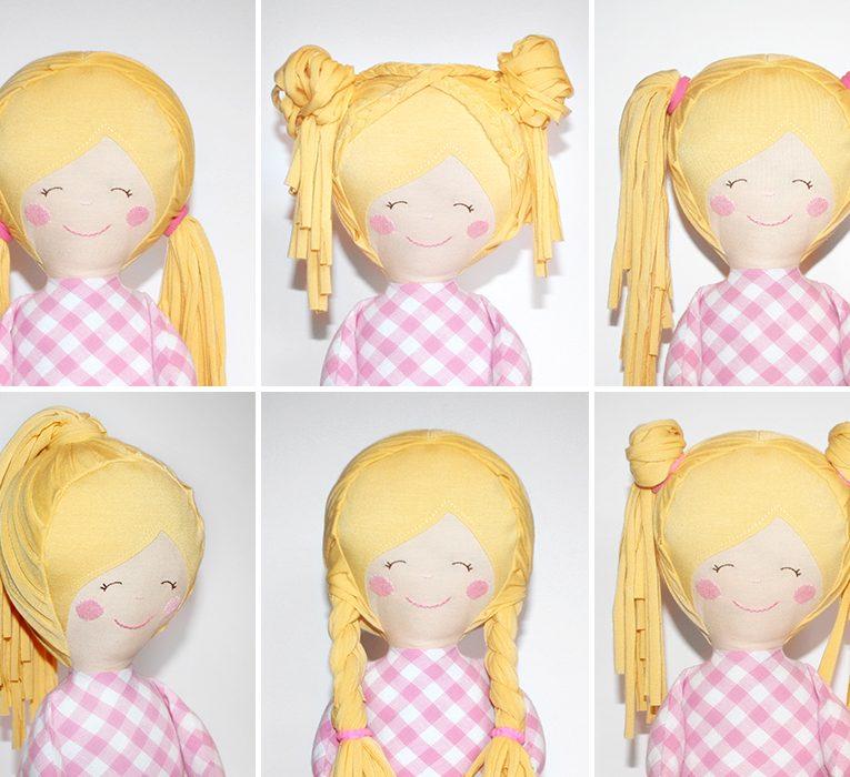 "Schnittmuster Puppe ""LULU"" - verschiedene Frisuren"