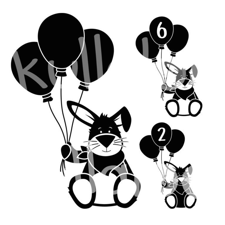 Plotterdatei Hase Kulio mit Ballons