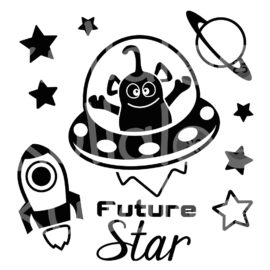Plotterdatei Rakete - B-Day Bibs Future Star