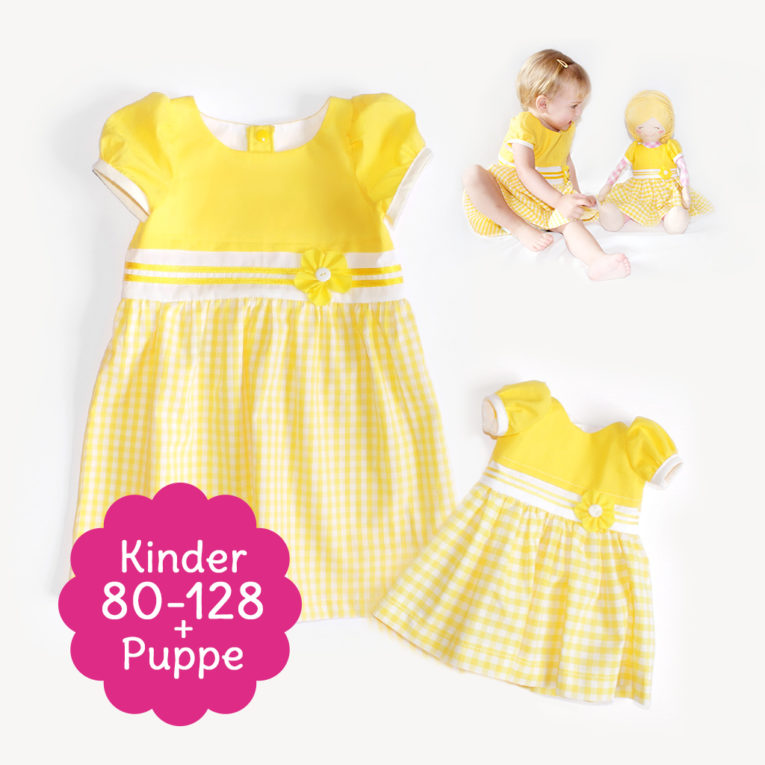 "Doppel-Schnittmuster Kleid ""SUNNY"" als Kinder- und Puppenkleid"