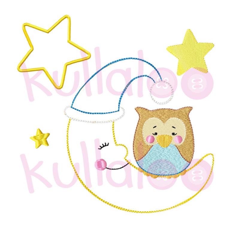 "Stickbild Eule ""LOU"" auf Mond 13x18"