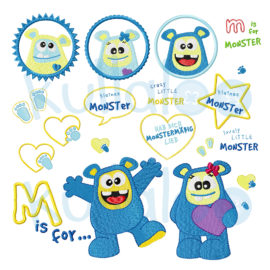 "Stickdatei Monster ""MemoMonsti"" Maxi-Set 10x10"