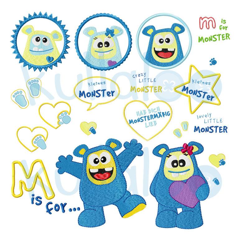 "Stickdatei Monster ""MemoMonsti"" Maxi-Set 10x10"