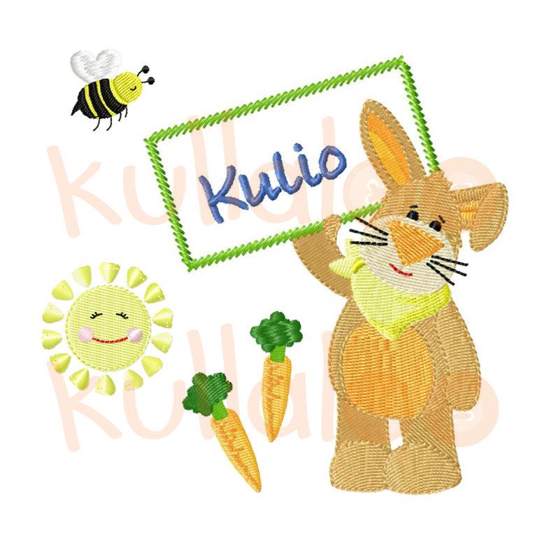 """Stickdatei Osterhase """"KULIO"""" mit Schild"""