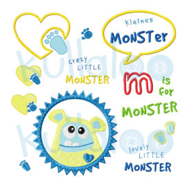 "Stickdateien Baby Monster ""MemoMonsti"" 10x10"