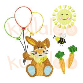 """Stickdateien Hase """"KULIO"""" mit Ballons"""
