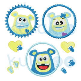 Stickdateien Monster Button-Set 10x10