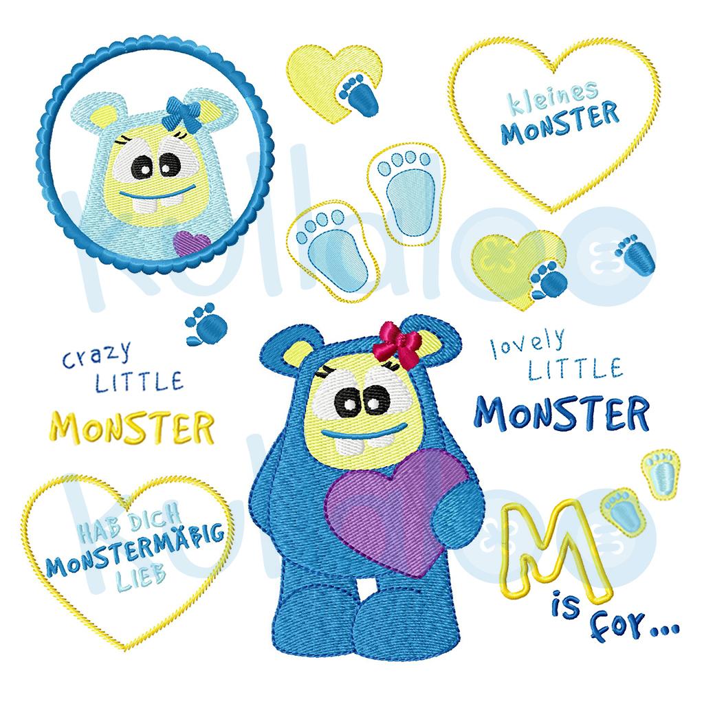 Stickdateien Monster-Mädchen Set 10x10