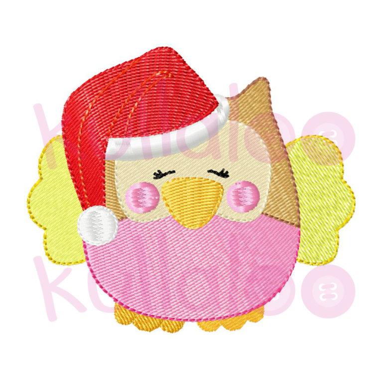 """Stickmotiv Eule """"KULLA"""" mit Weihnachtsmütze"""