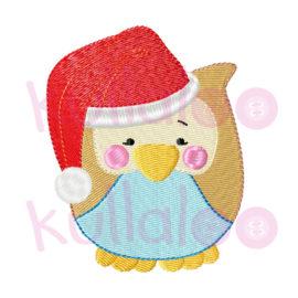 """Stickmotiv Eule """"LOU"""" mit Weihnachtsmütze 10x10"""