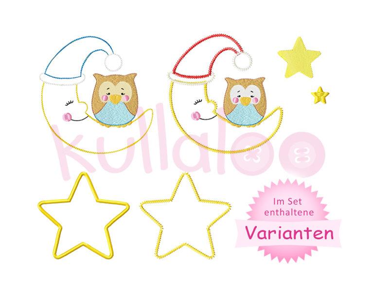 "Stickbild Eule ""LOU"" auf Mond 13x18 – Varianten"