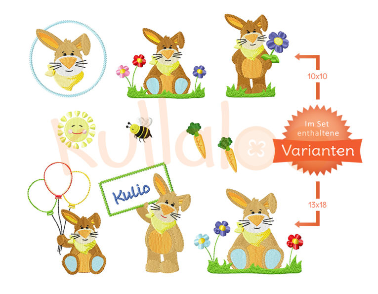 "Stickdatei Hase""KULIO"" Maxiset 10x10 & 13x18 – Varianten"