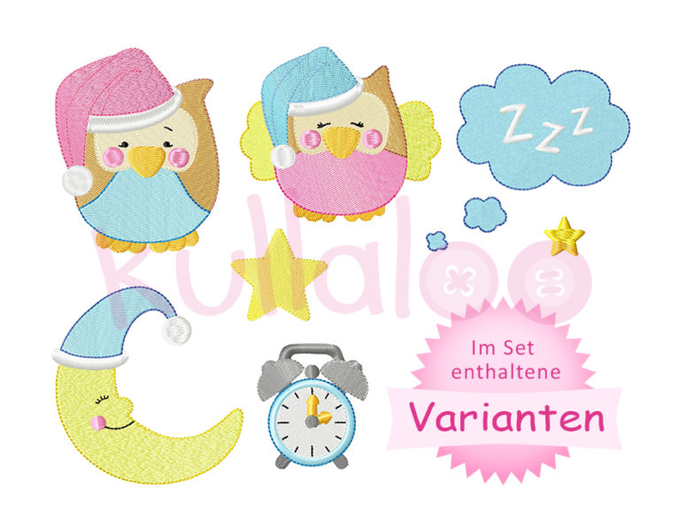 "Stickdatei Mond &Eulen ""KULLA & LOU"" 10x10 – Varianten"