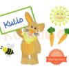 """Stickdatei Osterhase """"KULIO"""" mit Schild – Varianten"""