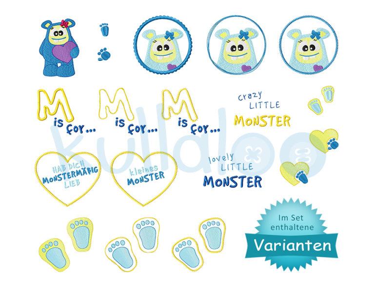 Stickdateien Monster-Mädchen Set – Varianten
