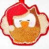 """Stickmotiv Eule """"KULLA"""" mit Weihnachtsmütze – Beispiel"""