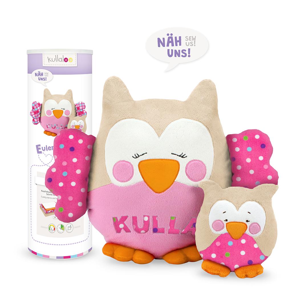 "Materialset Eule ""Kulla & Lou"" beige / rosa / bunte Punkte auf pink"