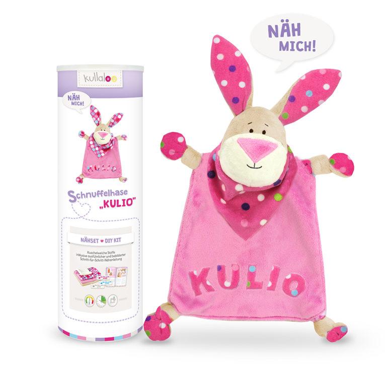 """Nähset Schnuffeltuch Hase """"Kulio"""" beige / rosa / gepunktet"""