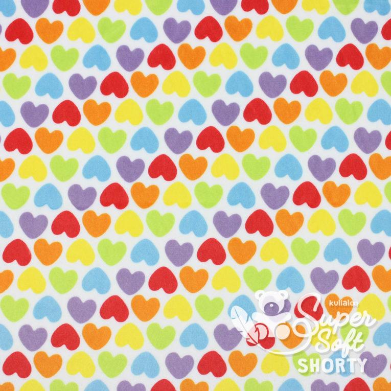 """Plüsch Stoff Muster Herzen """"Rainbow Love HEARTS"""" - großer Ausschnitt"""