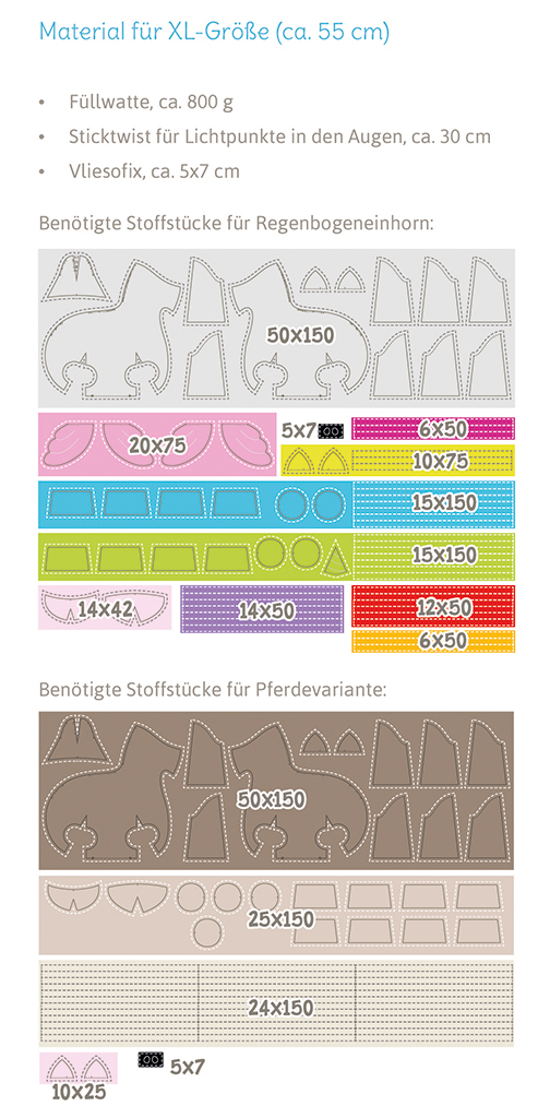 """Einhorn """"Big LADY LU"""" Materialverbrauch für Größe XL"""