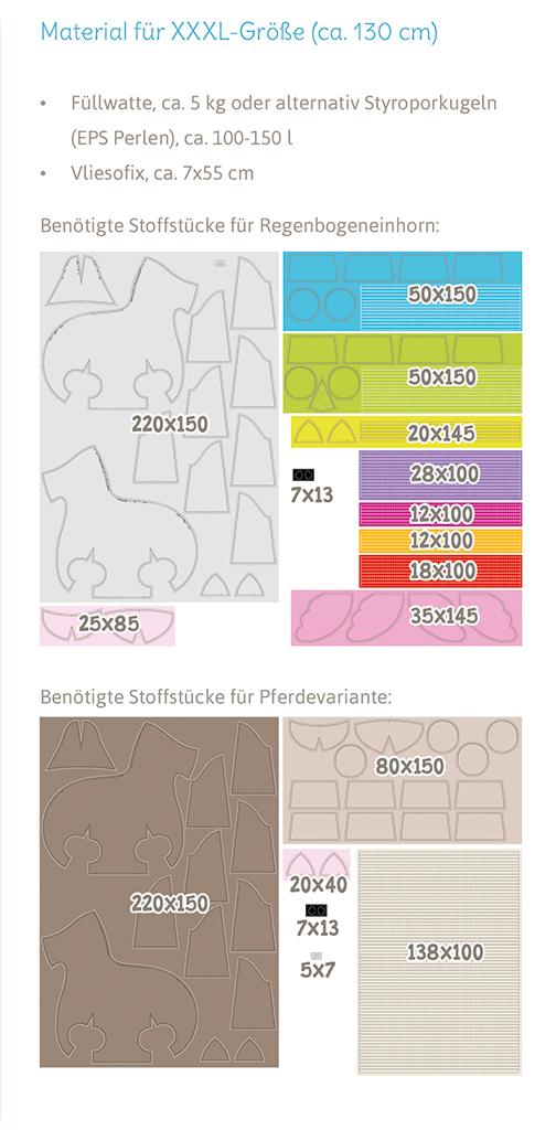 """Einhorn """"Big LADY LU"""" Materialverbrauch für Größe XXXL"""