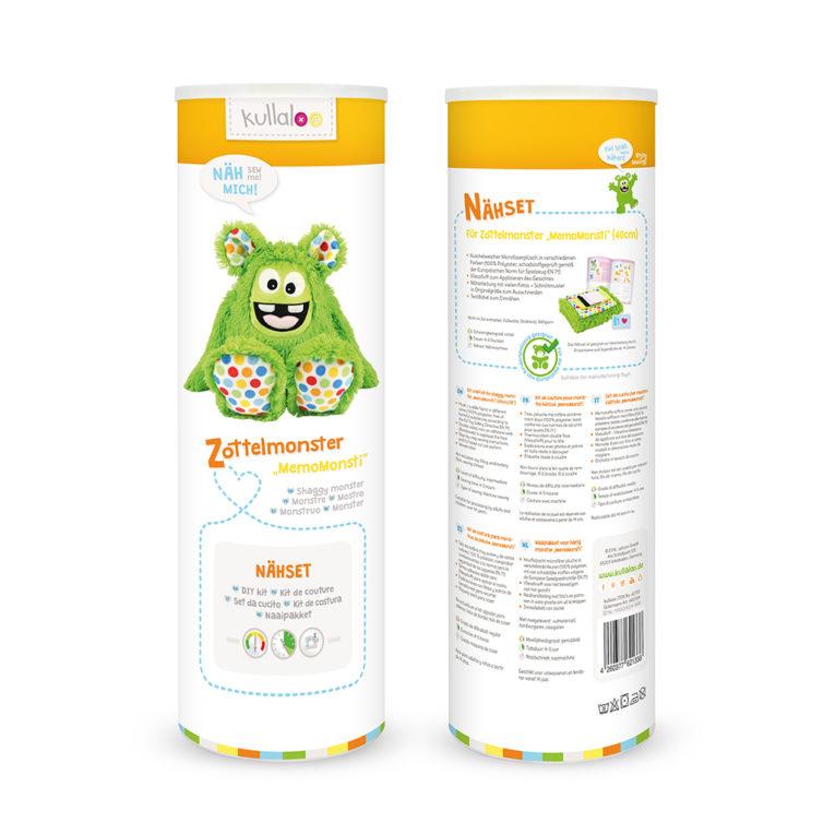 Nähset Kuscheltier Zottelmonster grün / gepunktet - Dose