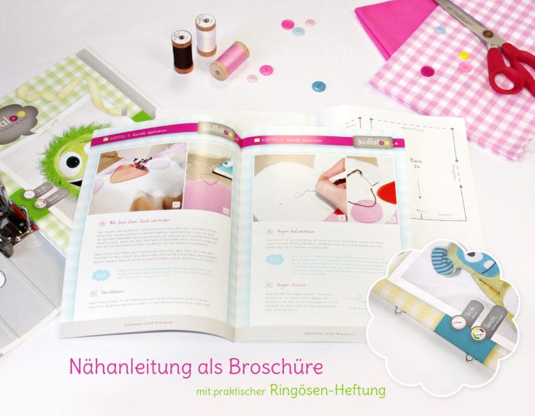 Papierschnittmuster: Broschüre mit Ringösenheftung zum Abheften