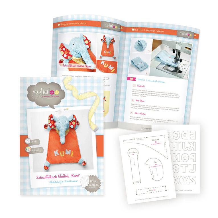Papierschnittmuster Schnuffeltuch Elefant Nähanleitung: Blick ins Heft
