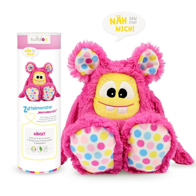 "Nähset Zottelmonster pink / ""Hula Dots"""
