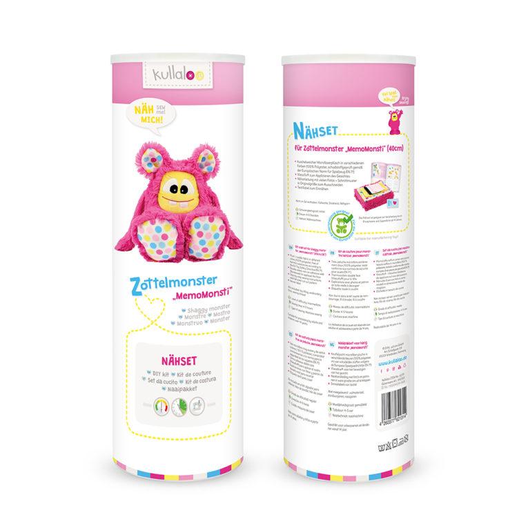 "Nähset Zottelmonster pink / ""Hula Dots"": Dose"
