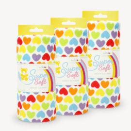 3er-VE SuperSoft SHORTY Rainbow Love Hearts 100x75 cm