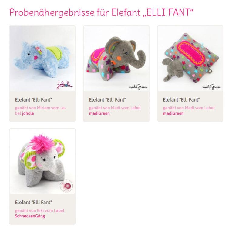 "Elefant nähen: Probenähergebnisse für ""ELLI FANT"""