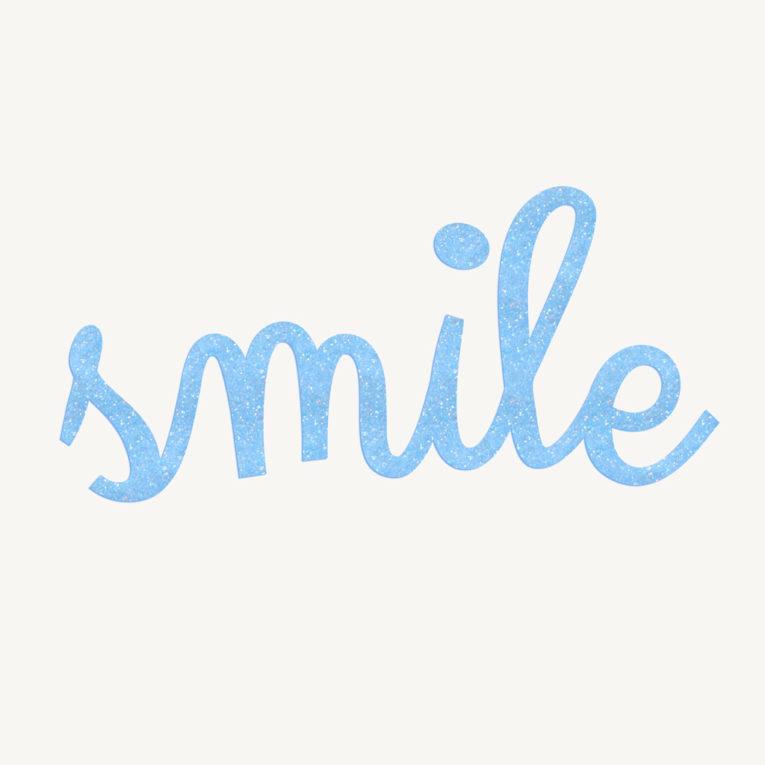 Aufbügler bestellen: Bügelbild SMILE Glitzer himmelblau